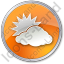 Cloudy Partly Circle Orange Icon, PNG/ICO, 64x64