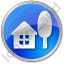 Cottage Circle Blue Icon