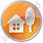 Cottage Circle Orange Icon