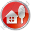 Cottage Circle Red Icon