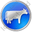 Cow Circle Blue Icon