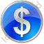 Currency Dollar Circle Blue Icon