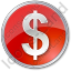Currency Dollar Circle Red Icon