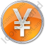 Currency Yen Circle Orange Icon