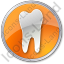 Dentist Tooth Circle Orange Icon