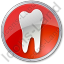 Dentist Tooth Circle Red Icon