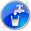 Drinking Water Tap Circle Blue Icon