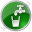 Drinking Water Tap Circle Green Icon