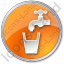 Drinking Water Tap Circle Orange Icon