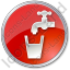 Drinking Water Tap Circle Red Icon