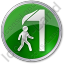 Falling Ice Circle Green Icon