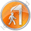 Falling Ice Circle Orange Icon