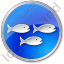 Fish Hatchery Circle Blue Icon, PNG/ICO, 64x64