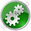 Gears Circle Green Icon, PNG/ICO, 64x64