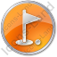 Golf Club Circle Orange Icon