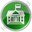 Government Facility Circle Green Icon, PNG/ICO, 64x64