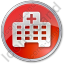 Hospital Facility Circle Red Icon