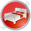 Hotel Bed 3D Circle Red Icon