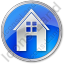 House Circle Blue Icon, PNG/ICO, 64x64