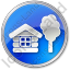 Lodge Circle Blue Icon, PNG/ICO, 64x64