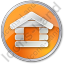 Log Cabin Circle Orange Icon