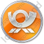 Mail Horn Circle Orange Icon