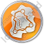 Map Roads Circle Orange Icon, PNG/ICO, 64x64