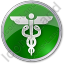Medicine Caduceus Circle Green Icon