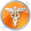 Medicine Caduceus Circle Orange Icon