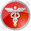 Medicine Caduceus Circle Red Icon, PNG/ICO, 64x64