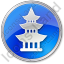 Pagoda Circle Blue Icon, PNG/ICO, 64x64