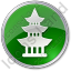 Pagoda Circle Green Icon, PNG/ICO, 64x64