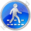Pedestrian Crossing Circle Blue Icon