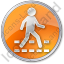 Pedestrian Crossing Circle Orange Icon