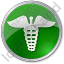 Pharmacy Caduceus Circle Green Icon, PNG/ICO, 64x64
