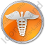 Pharmacy Caduceus Circle Orange Icon, PNG/ICO, 64x64