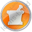 Pharmacy Mortar And Pestle Circle Orange Icon