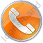 Phone Circle Orange Icon, PNG/ICO, 64x64