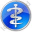 Physician Rod Of Asclepius Circle Blue Icon, PNG/ICO, 64x64