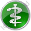 Physician Rod Of Asclepius Circle Green Icon