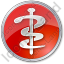 Physician Rod Of Asclepius Circle Red Icon, PNG/ICO, 64x64