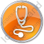 Physician Stethoscope Circle Orange Icon
