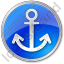 Port Anchor Circle Blue Icon