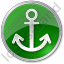 Port Anchor Circle Green Icon