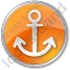 Port Anchor Circle Orange Icon