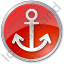 Port Anchor Circle Red Icon
