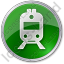 Railway Station Circle Green Icon, PNG/ICO, 64x64
