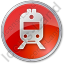 Railway Station Circle Red Icon, PNG/ICO, 64x64