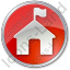 Ranger Station Circle Red Icon, PNG/ICO, 64x64