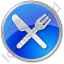 Restaurant Fork Knife Crossed Circle Blue Icon, PNG/ICO, 64x64